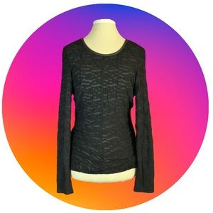 W by Worth Black Long Sleeve Lace Top